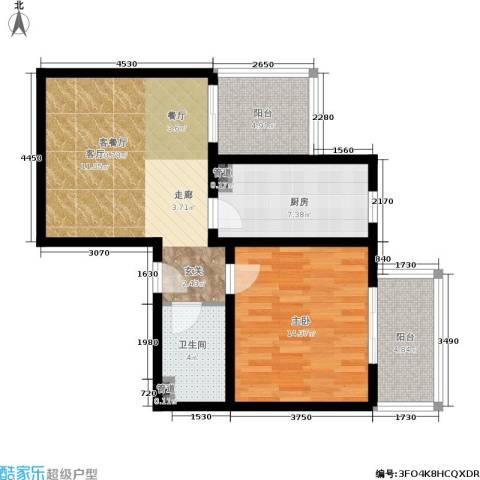 日月东华1室1厅1卫1厨66.00㎡户型图