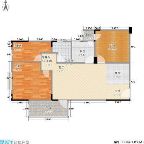 长城里程家园3室1厅1卫1厨76.00㎡户型图