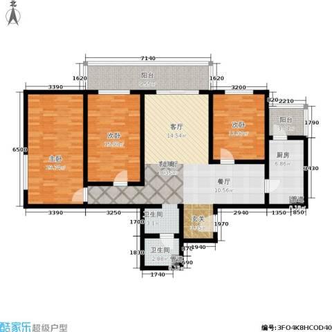 日月东华3室1厅1卫1厨125.00㎡户型图