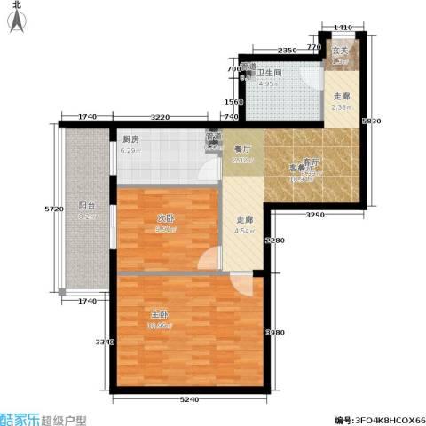 日月东华2室1厅1卫1厨77.00㎡户型图