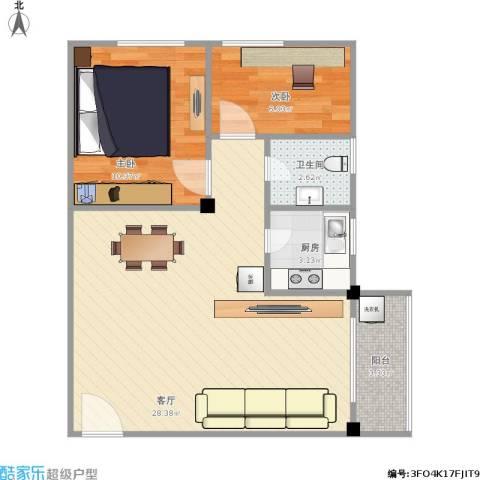 北园新村二期2室1厅1卫1厨73.00㎡户型图