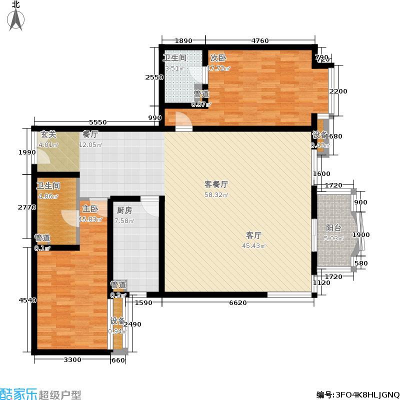 华盛乐章129.82㎡2室-2厅-2卫-1厨户型