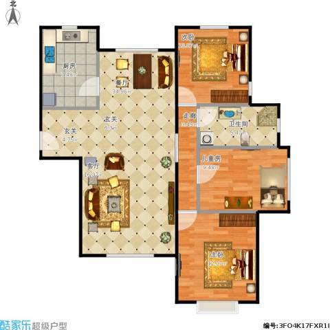 中信公园城3室1厅1卫1厨110.00㎡户型图