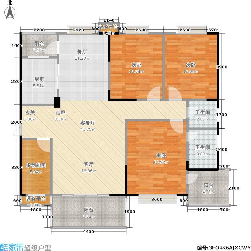 泊爱蓝湾137.26㎡C 三房二厅二卫户型3室2厅2卫