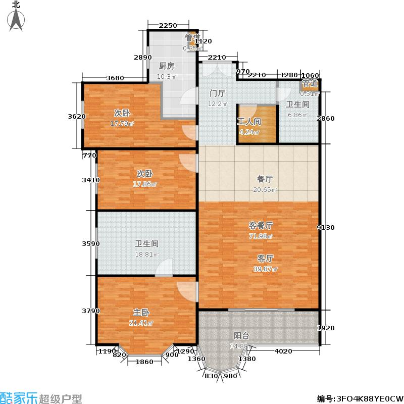 嘉和丽园195.75㎡三室两厅两卫户型