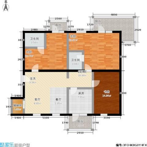丽都东方国际公寓3室0厅2卫1厨161.00㎡户型图