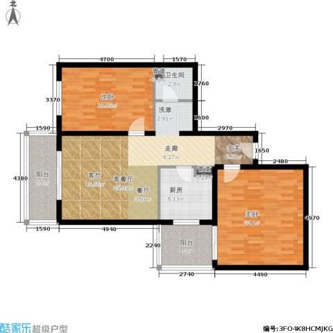 日月东华2室1厅1卫1厨95.00㎡户型图
