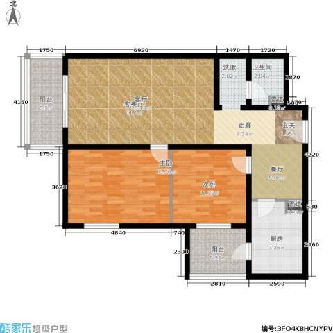日月东华2室1厅1卫1厨103.00㎡户型图