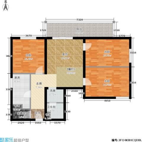 日月东华3室1厅1卫1厨106.00㎡户型图