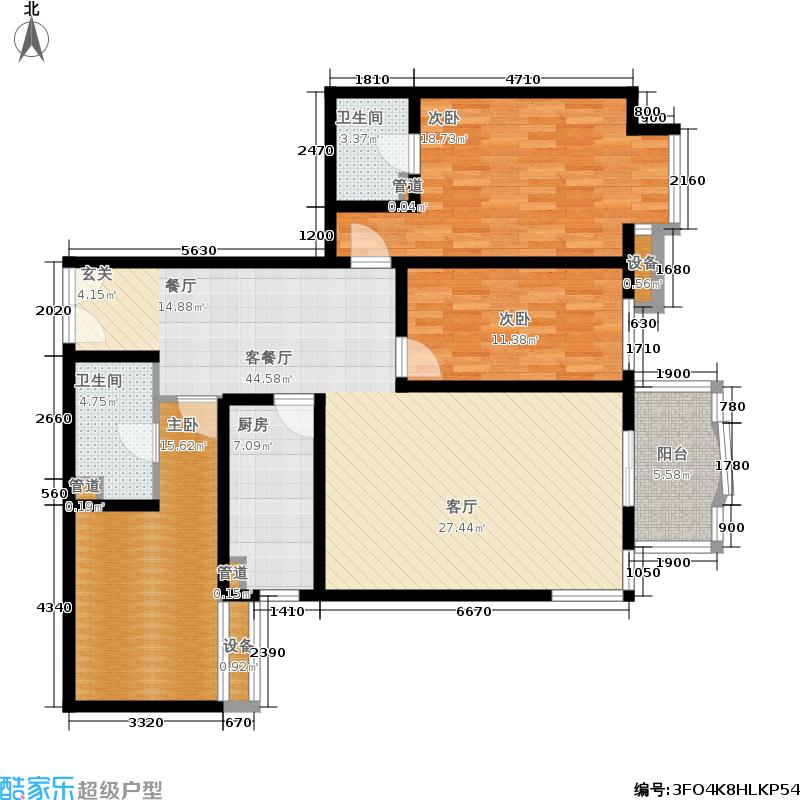 华盛乐章129.82㎡3室-2厅-2卫-1厨户型