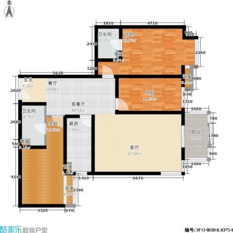 华盛乐章3室1厅2卫1厨130.00㎡户型图