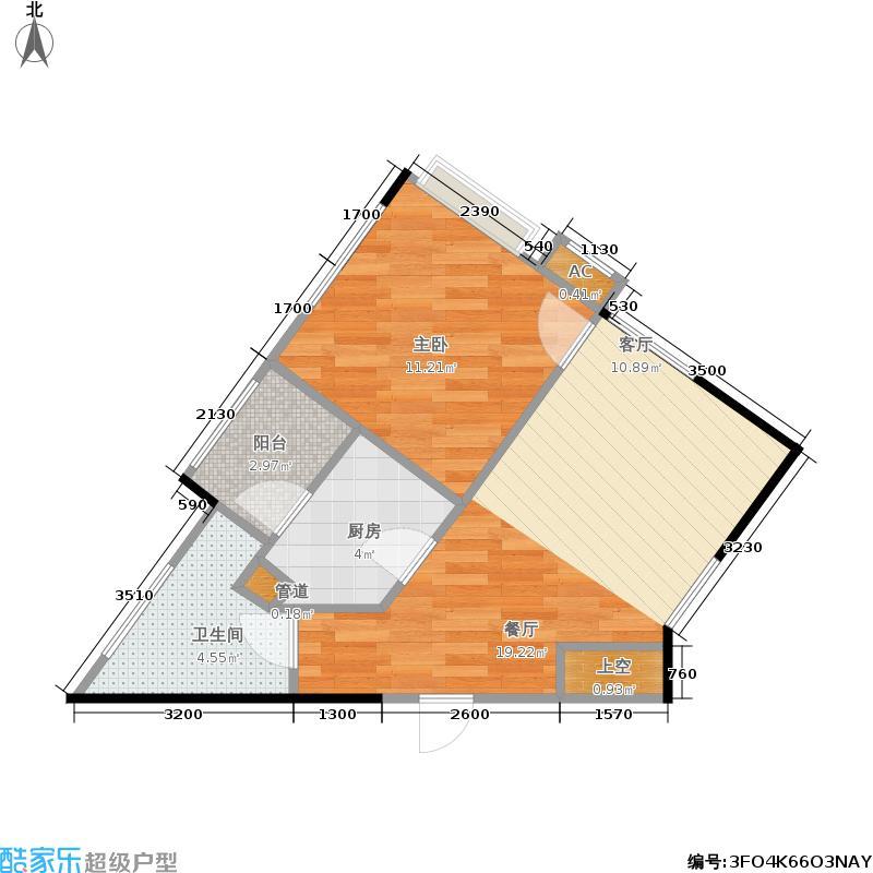 万象美域58.00㎡E户型一室两厅一卫户型1室2厅1卫