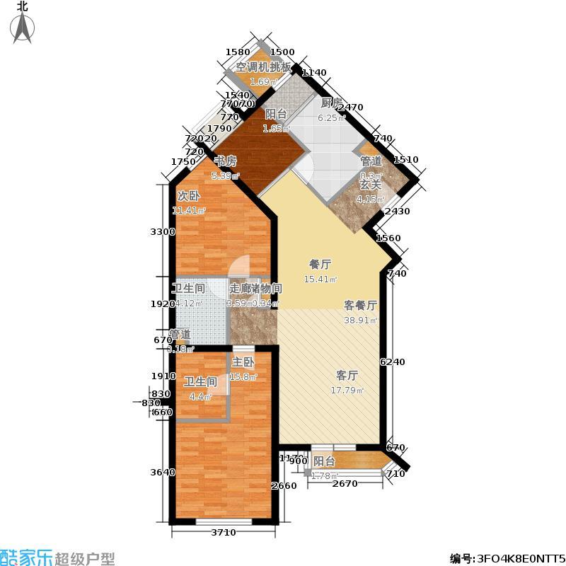 上元君庭133.37㎡C1a-2反户型三室二厅二卫户型