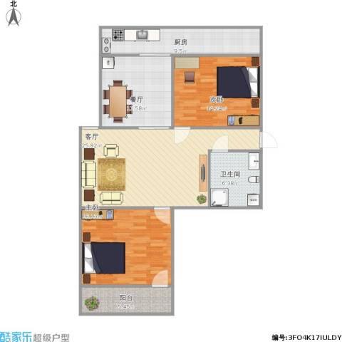 枫林小区2室2厅1卫1厨120.00㎡户型图