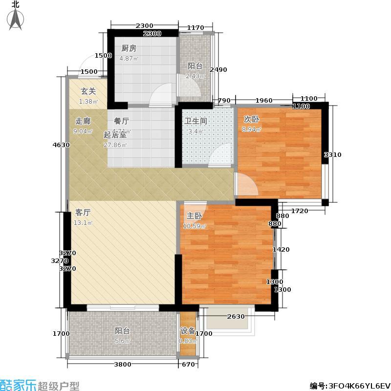 香榭国际70.59㎡2011年2期1批次B4户型70.59㎡(赠送16.06㎡)2室2厅1卫户型2室2厅1卫