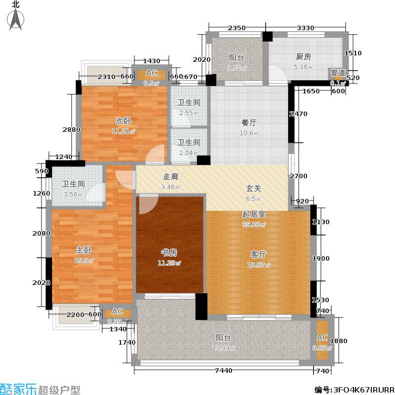 丰园城132.56㎡D-1户型图3室2厅2卫1厨户型3室2厅2卫