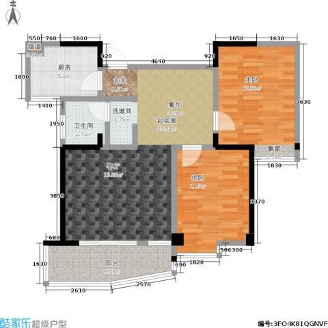 西城龙庭2室0厅1卫1厨77.00㎡户型图