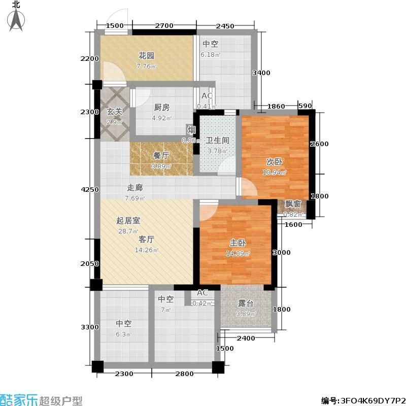 成都合院院邸86.00㎡B户型 奇数层 三室两厅一卫 赠送34平米户型3室2厅1卫