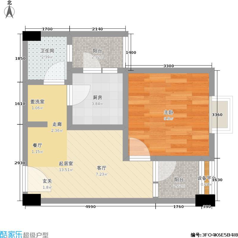 玲珑郡2011年1月在售-1期1批次7号楼W户型1室1卫1厨