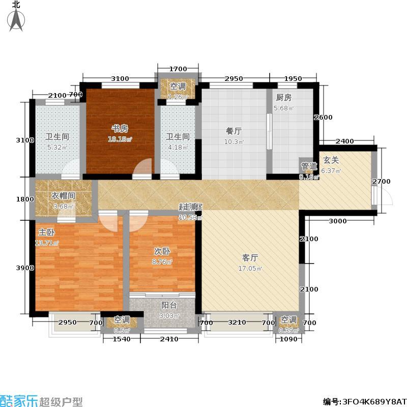 中海国际社区142.00㎡悦景美居 三室两厅两卫户型3室2厅2卫