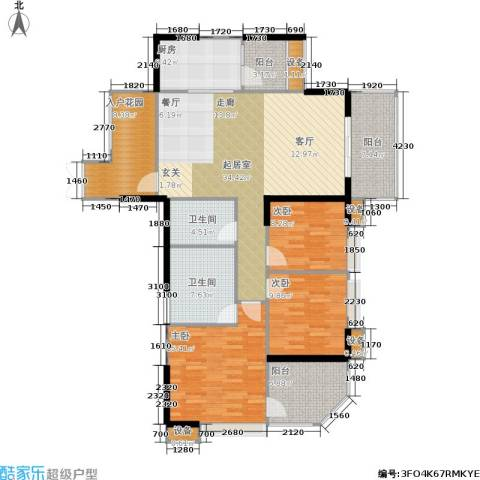 航天城上城3室0厅2卫1厨130.00㎡户型图