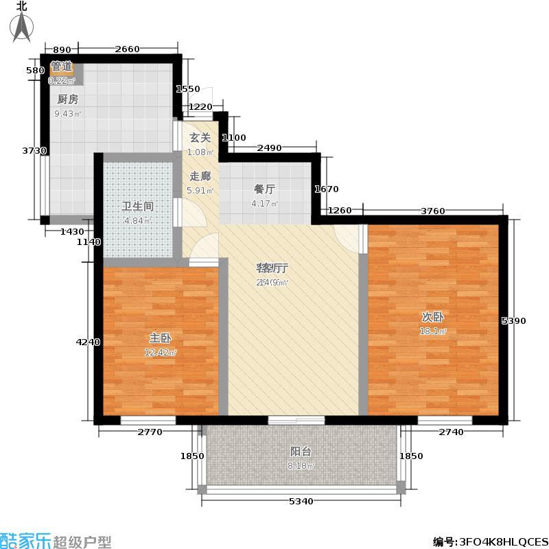东风家园91.08㎡2室2厅1卫1厨户型