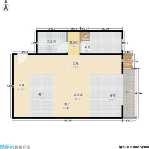 CBD总部公寓1卫1厨65.00㎡户型图