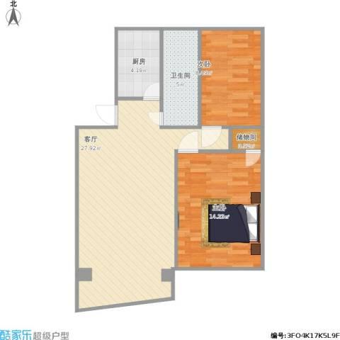 阳光花园2室1厅1卫1厨82.00㎡户型图