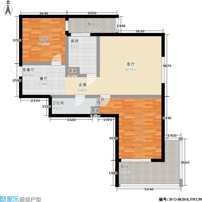 东风家园104.69㎡2室2厅1卫1厨户型