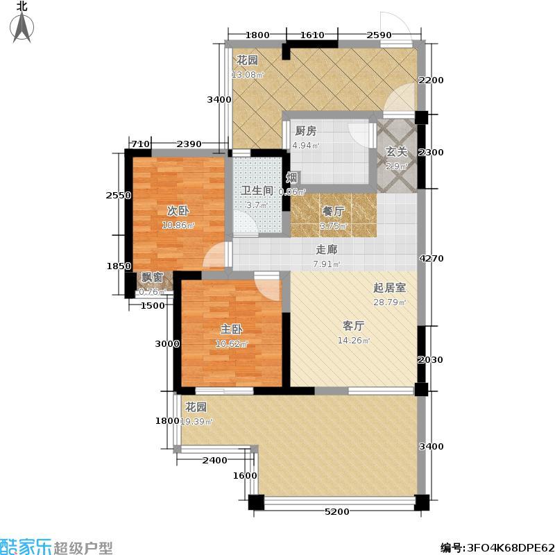 成都合院院邸88.00㎡2011年8月在售B户型 实得面积:117㎡ 两房两厅一卫户型