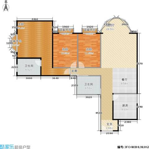 圣馨大地家园3室1厅2卫1厨131.00㎡户型图
