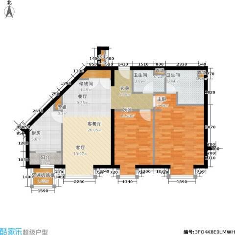 上元君庭2室1厅2卫1厨111.00㎡户型图