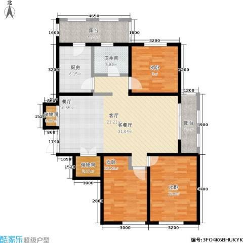 金域蓝城3室1厅1卫1厨86.91㎡户型图
