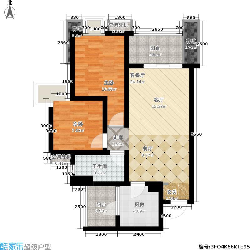 太阳公元83.00㎡B4两室两厅一卫户型2室2厅1卫