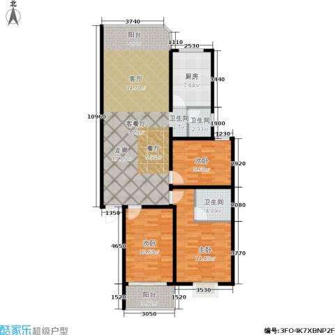 鑫湘佳园3室1厅2卫1厨110.00㎡户型图