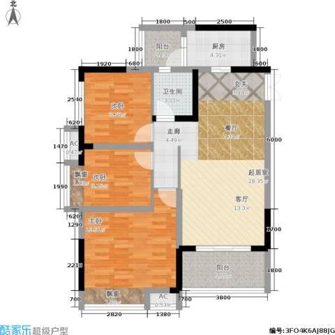 金辉悦府3室0厅1卫1厨112.00㎡户型图