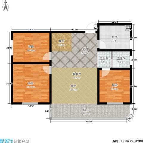 鑫湘佳园3室1厅1卫1厨90.00㎡户型图