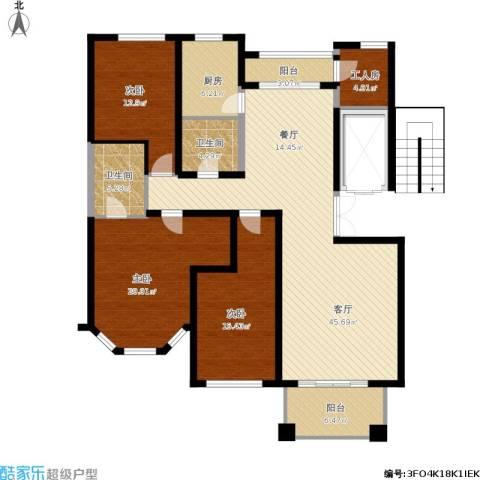 绿城桂花城3室1厅2卫1厨176.00㎡户型图