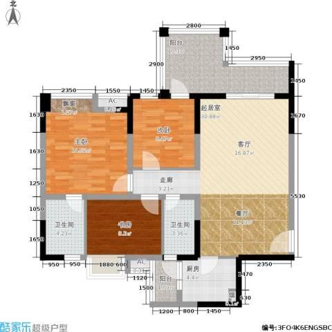 成都合院3室0厅2卫1厨107.00㎡户型图