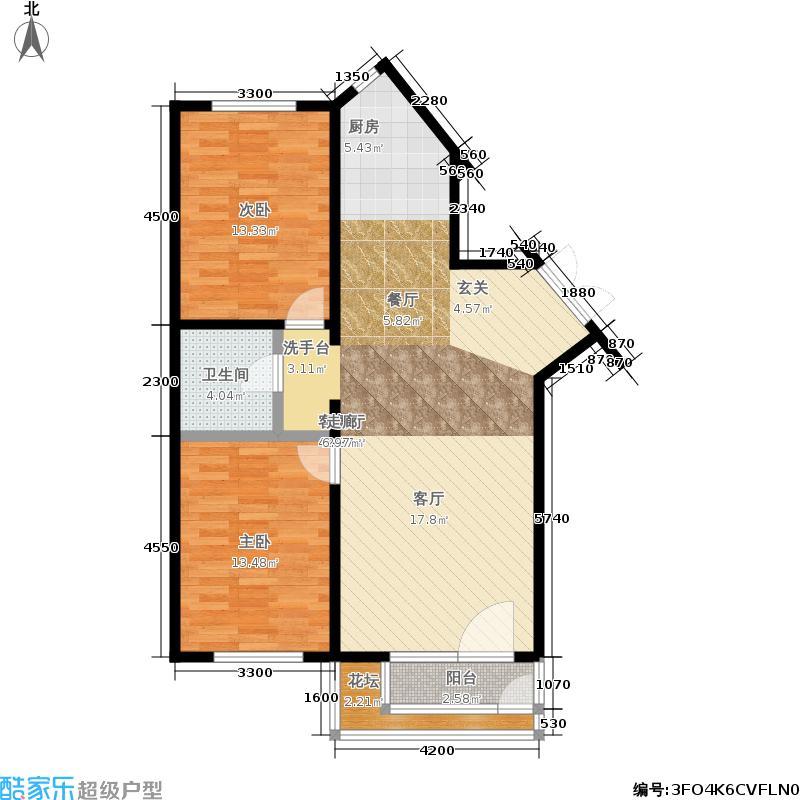 南郡凤凰湾74.07㎡2室1厅1卫户型2室2厅1卫