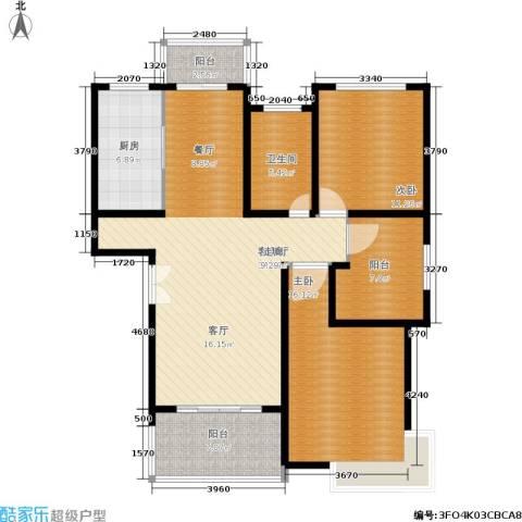 贝越流明新苑2室1厅1卫1厨103.00㎡户型图