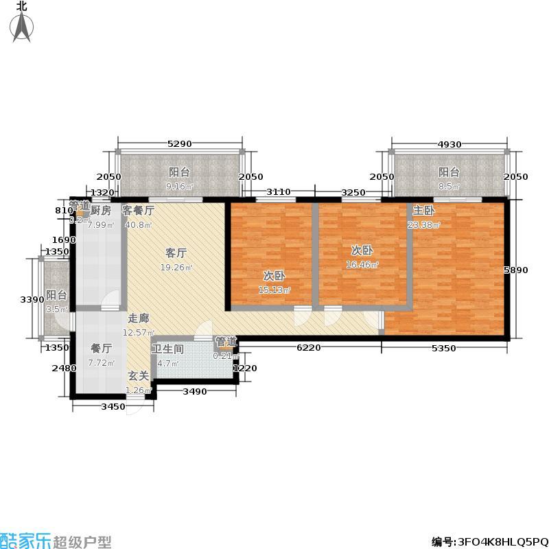 东风家园135.69㎡3室2厅1卫1厨户型
