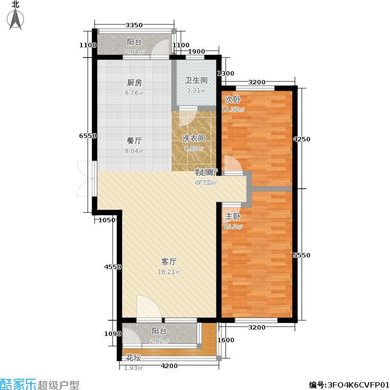 南郡凤凰湾78.09㎡2室2厅1卫户型2室2厅1卫