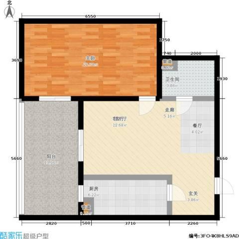 东风家园1室1厅1卫1厨82.00㎡户型图