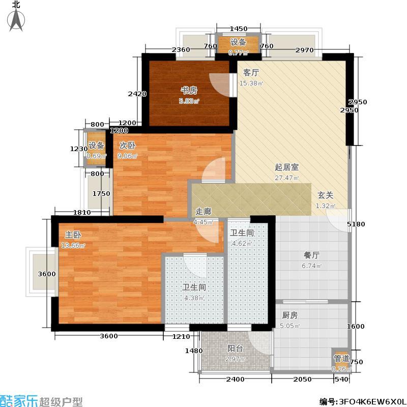 蜀都中心103.51㎡蜀都中心户型图F户型(2/3张)户型3室2厅2卫