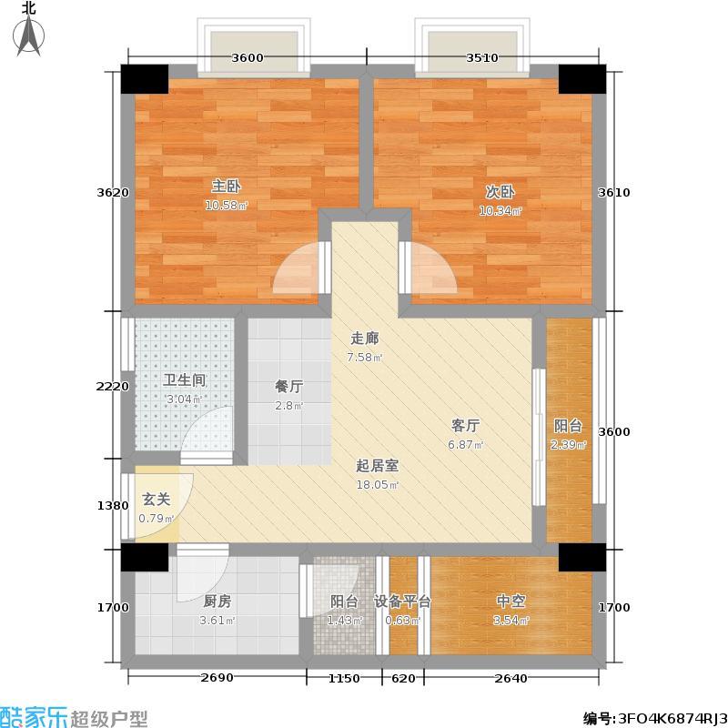 玲珑郡73.00㎡玲珑郡户型图2室2厅1卫1厨(1/5张)户型2室2厅1卫