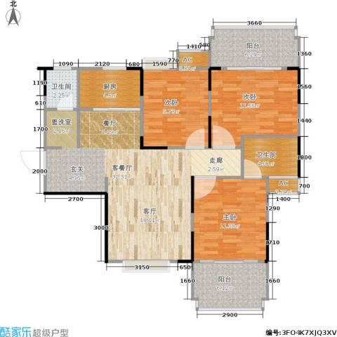 东方新城3室1厅2卫1厨103.00㎡户型图