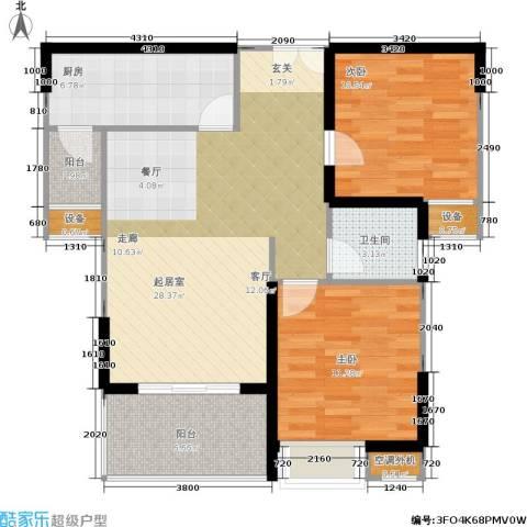 航天城上城2室0厅1卫1厨86.00㎡户型图