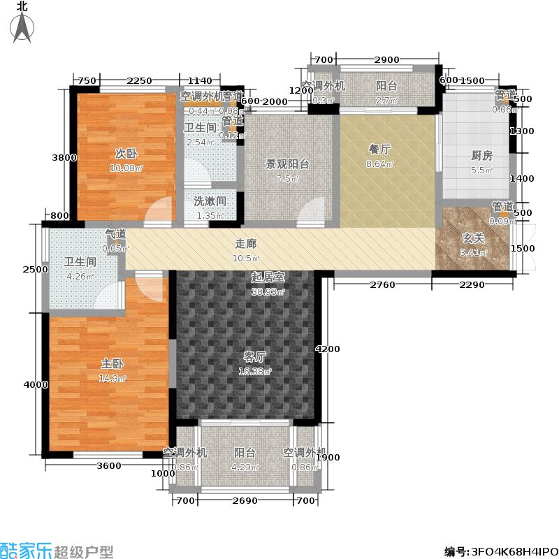 金茂梅溪湖119.00㎡A1户型两室两厅两卫户型2室2厅2卫