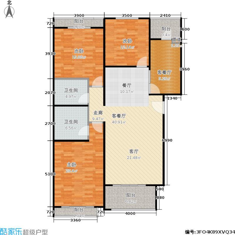 柏阳景园B3三室两厅两卫户型